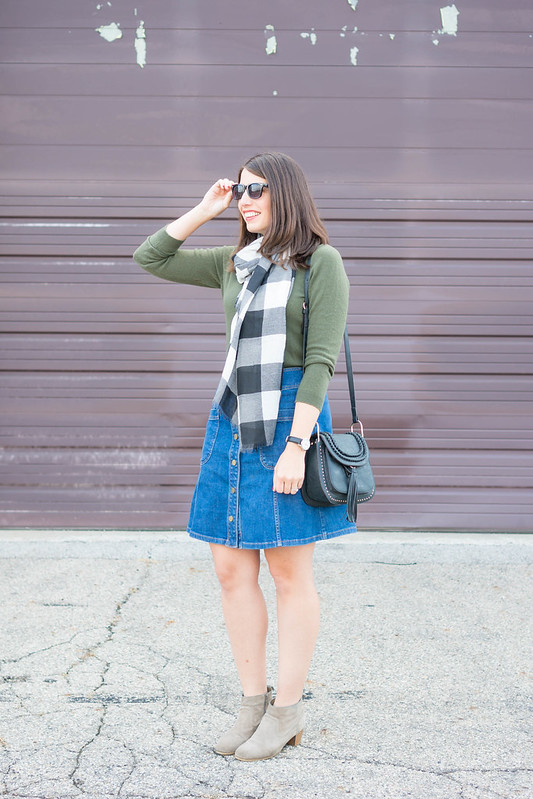 green cashmere sweater + black and white gingham plaid old navy scarf + denim button skirt + ankle boots + chloe hudson purse dupe; casual fall outfit | Style On Target blog