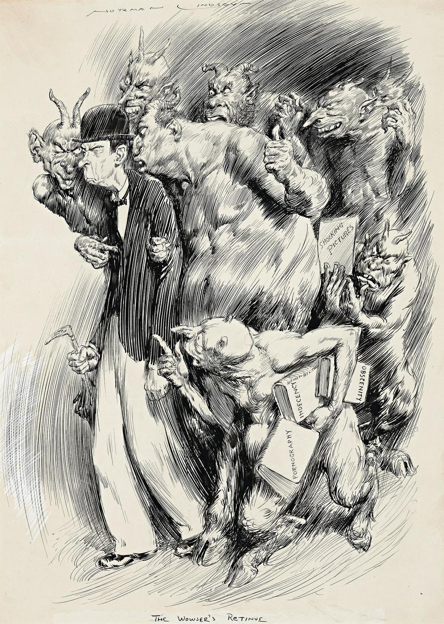 Norman Lindsay - The Wowser's Retinue, 1932
