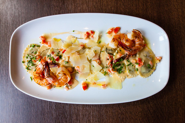2016, Wk 6 Wild Mushroom Ravioli with Grilled Prawns