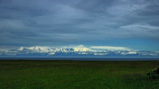 A View of Mount Redoubt and a Grassy Field | by thor_mark 
