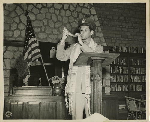 Captain Joseph H. Freedman Hq, USAFIME, is shown blowing the Shofar | by Center for Jewish History, NYC
