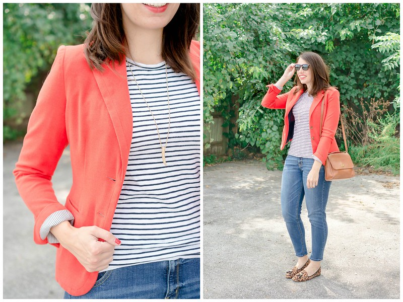 orange blazer + boyfriend jeans + stripe tee + leopard print shoes + tan coach purse; casual fall outfit | Style On Target blog