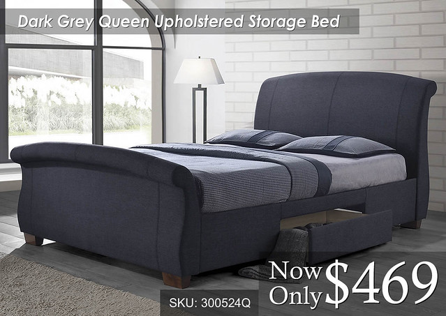 Dark Grey Queen Storage Sleigh Upholstered