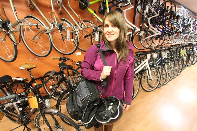 Erin O'Melinn of HUB at the Bike Doctor, one of many bike shops supported by Vancouver's upscale cycling infrastructure