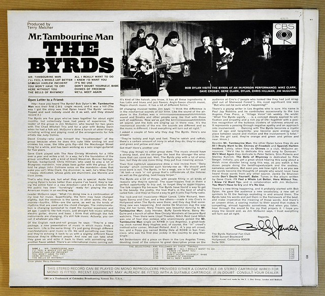 THE BYRDS MR TAMBOURINE MAN UK 1ST PRESSING 1A-1/1B-1