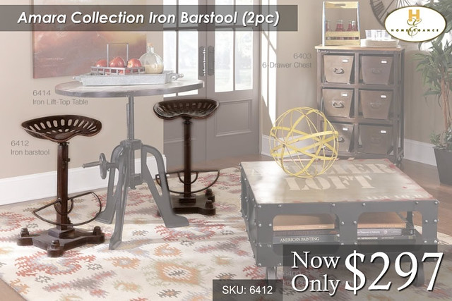 Amara Collection Iron Barstool Set