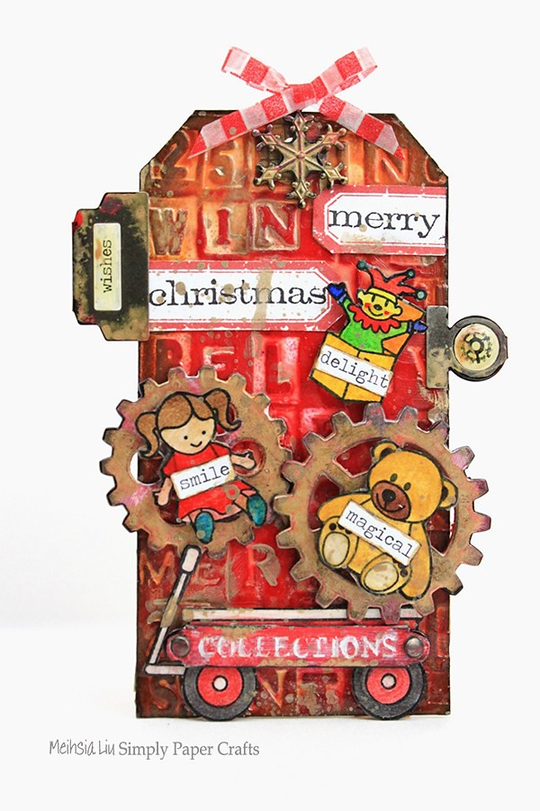 Meihsia Liu Simply Paper Crafts Mixed Media Tag Christmas Simon Says Stamp Monday Challenge 600