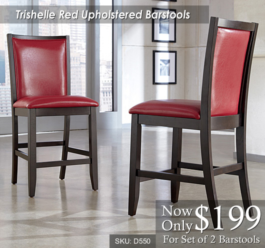 Trishelle Red Upholstered Bar Stools