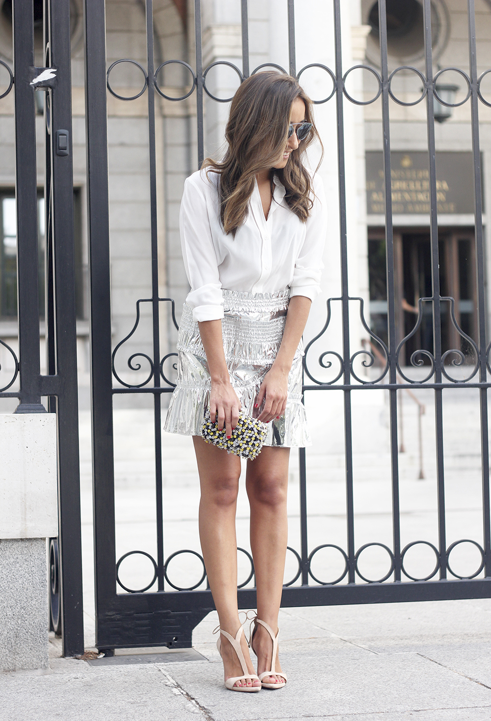 Isabel Marant Metallic Skirt white shirt nude sandals dior so real sunnies outfit style fashion22