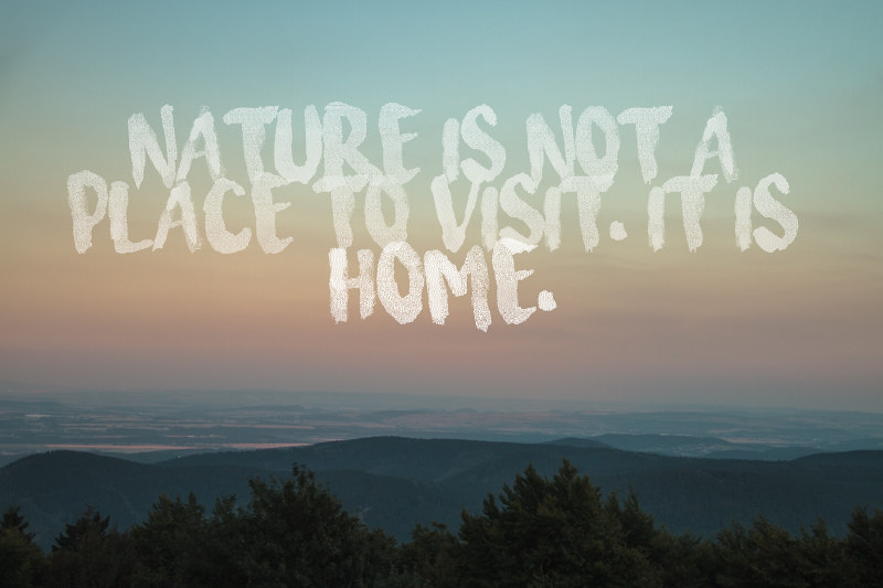 nature is not a place to visit it is home_home quote