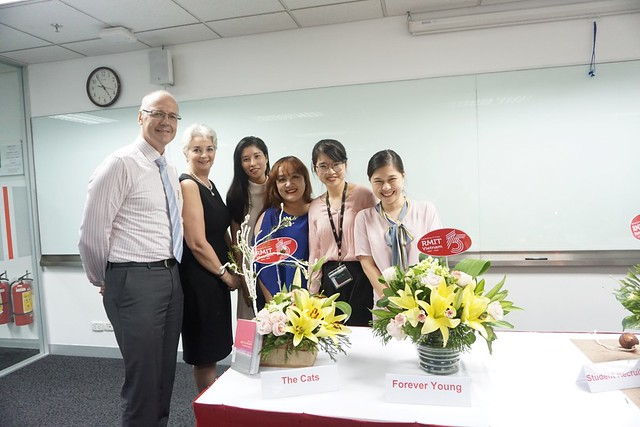 The winner of Hanoi City campus' flower arranging competition and the judges