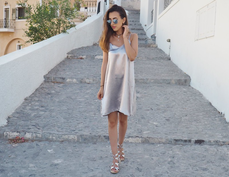 BOOHOO METALLIC SLIP DRESS