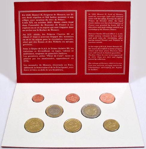 Oficiálna sada Euro mincí Monako 2001