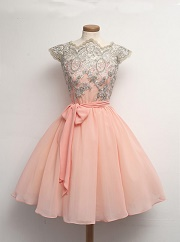 Mini Chiffon Lace Sashes Short Homecoming Dress