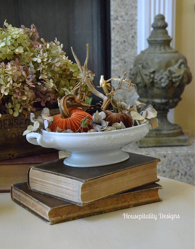 Plush Pumpkins/Ironstone/Vintage Books - Housepitality Designs
