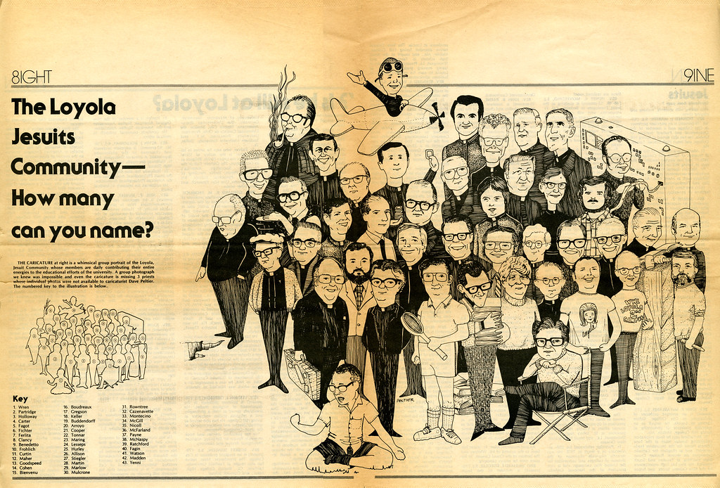 Loyola Jesuits caricature from 1979 Loyola of the South Magazine