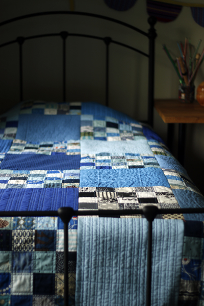 Blue Phase, a finished quilt