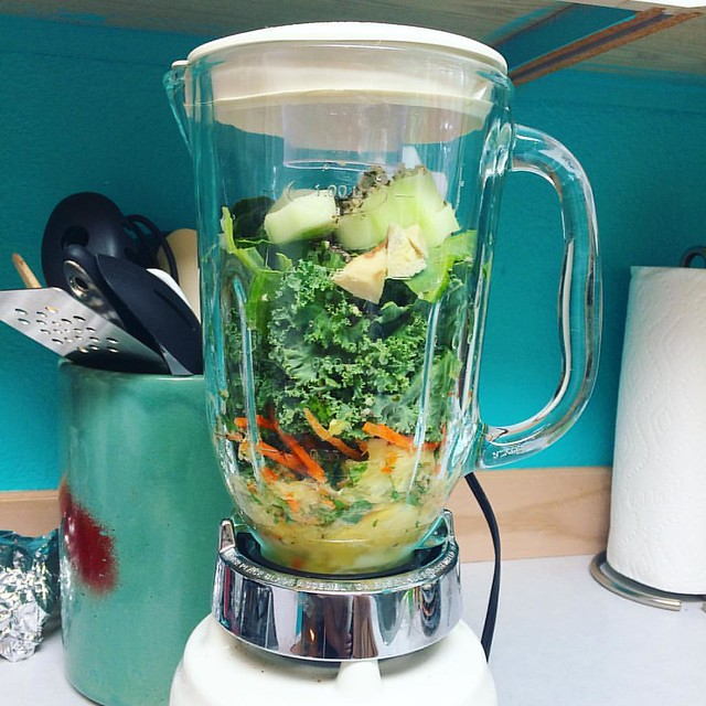 After seeing my cousin Erika's glowing skin, I decided to try her green juice recipe. Wish me luck...