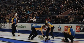 Edmonton Ab.Mar8,2013.Tim Hortons Brier.Alberta skip Kevin Martin,third John Morris.second Marc Kennedy,lead Ben Hebert.CCA/michael burns photo | by seasonofchampions