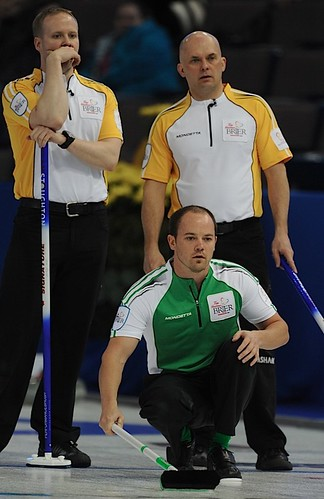 Edmonton Ab.Mar5,2013.Tim Hortons Brier.Saskatchewan second Chris Schille.Manitoba third Jon Mead,lead Mark Nichols.CCA/michael burns photo | by seasonofchampions