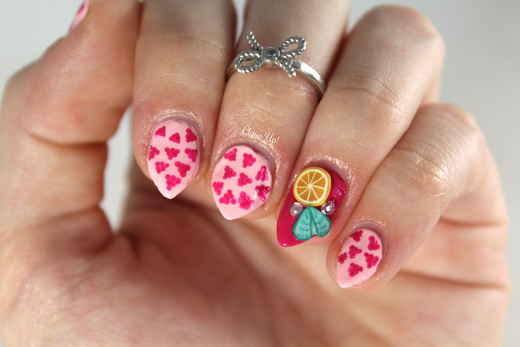 Raspberry Collins nail art using Ciate Raspberry Collins