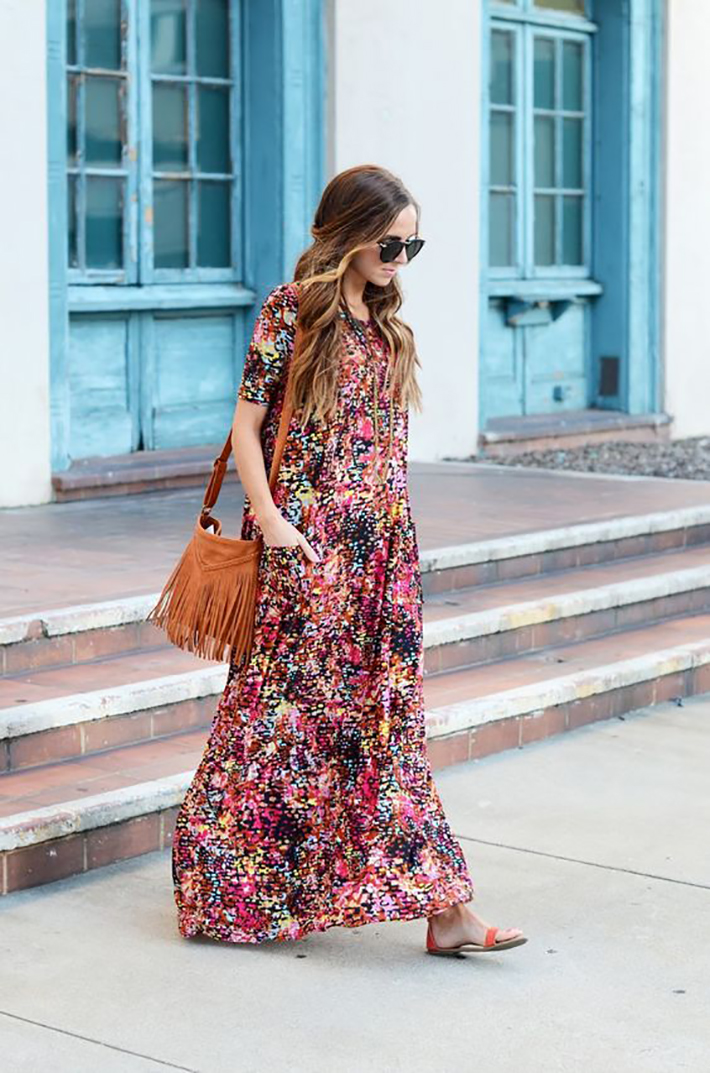 maxi dress with floral print inspiration street style fashion outfit summer autumn5