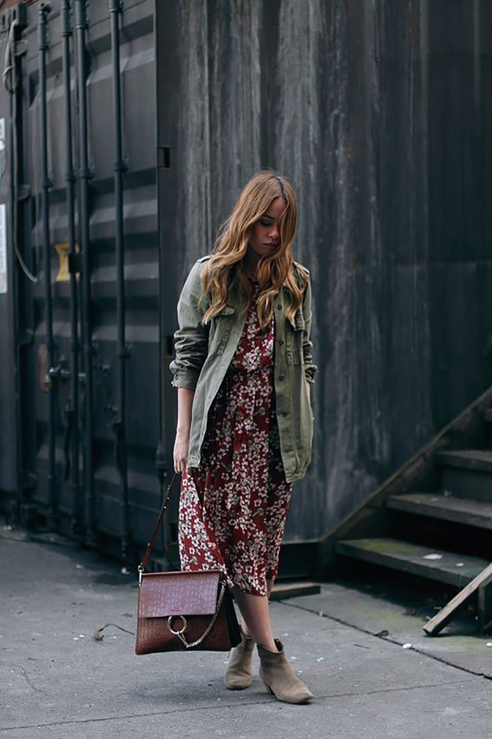 maxi dress with floral print inspiration street style fashion outfit summer autumn2