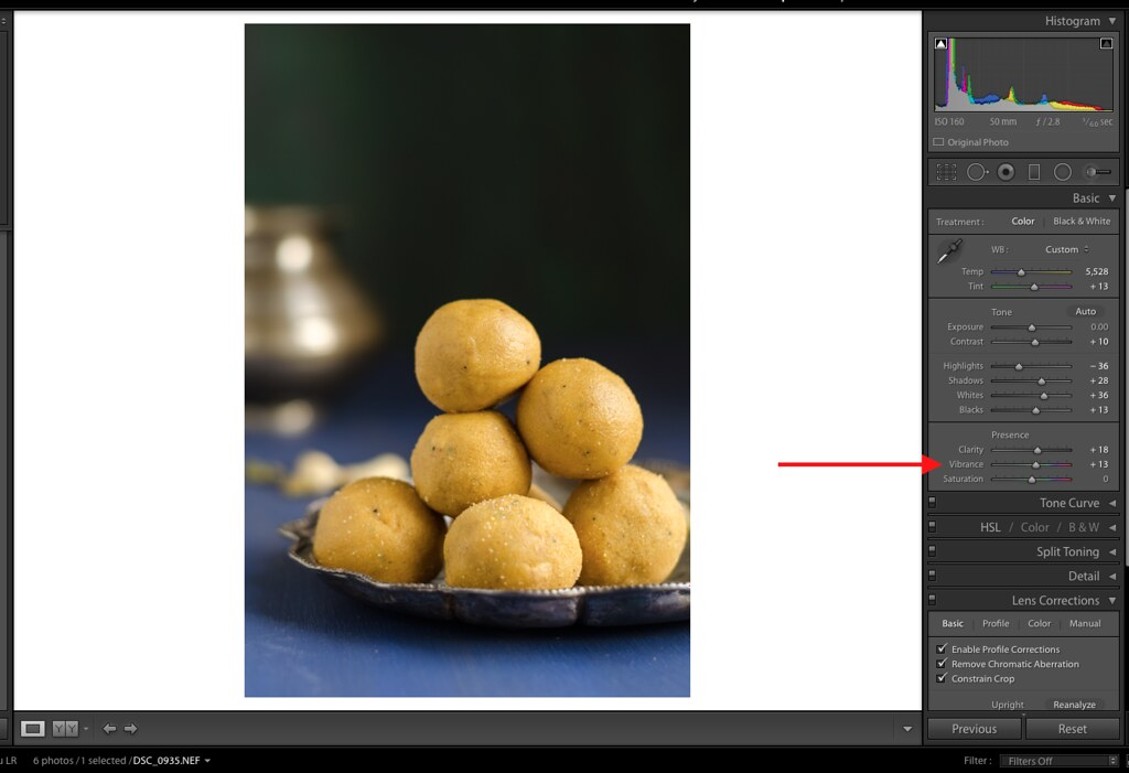 Vibrance, Vibrance in Lightroom, Lightroom Tutorial for Food photos, Lightroom tutorial, Editing RAW files in Lightroom,  Lightroom Food Tutorial, How to edit food photos in Lightroom,