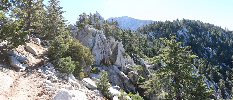 San Jacinto Peak in the distance with plenty of granite boulders on the Fuller Ridge Trail