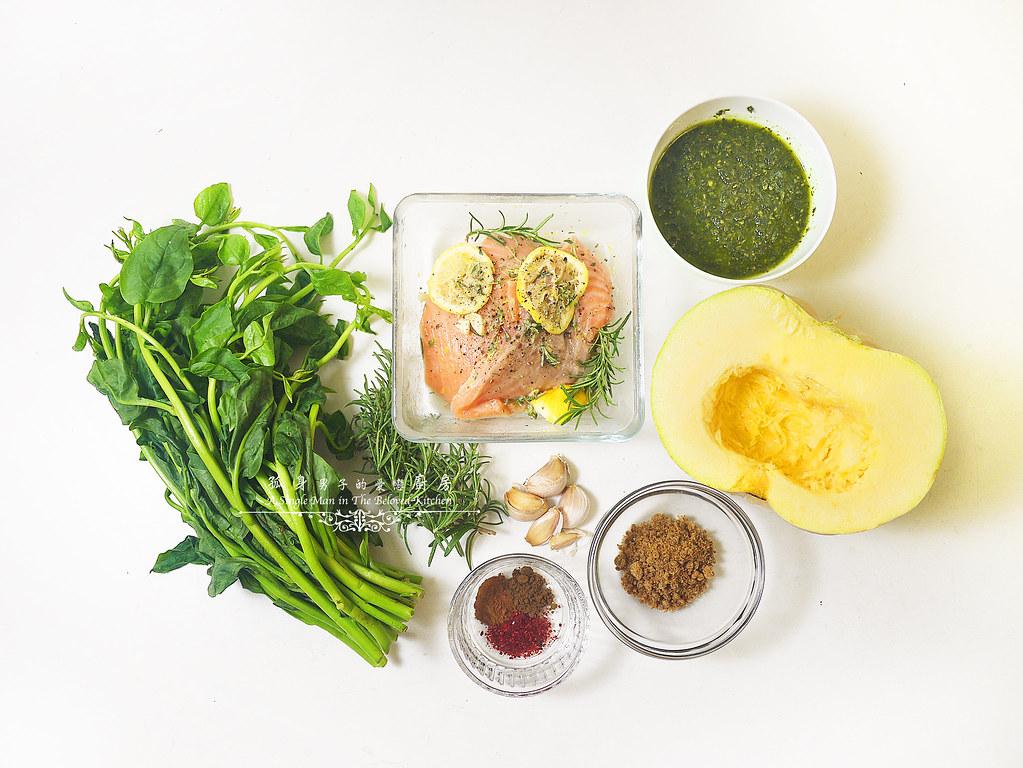孤身廚房-烤鮭魚排佐香料烤南瓜及蒜香皇宮菜3