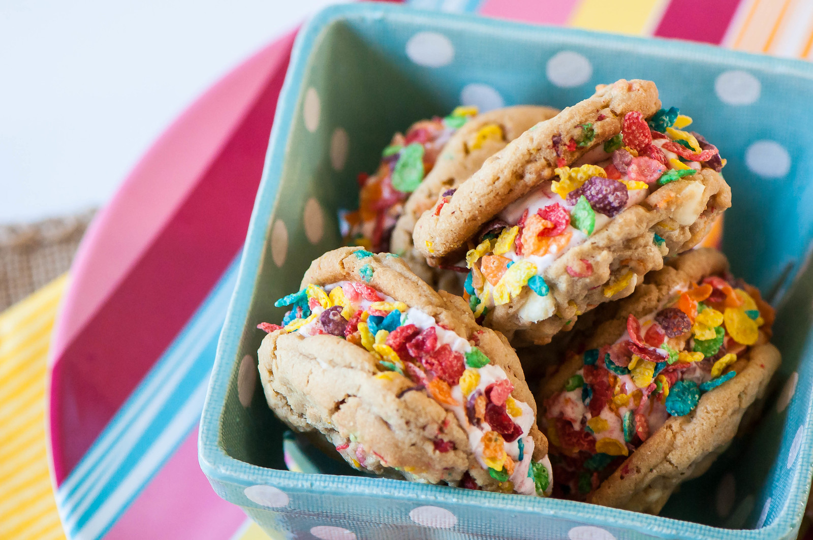 Fruity Pebbles Cookie Ice Cream Sandwiches 4