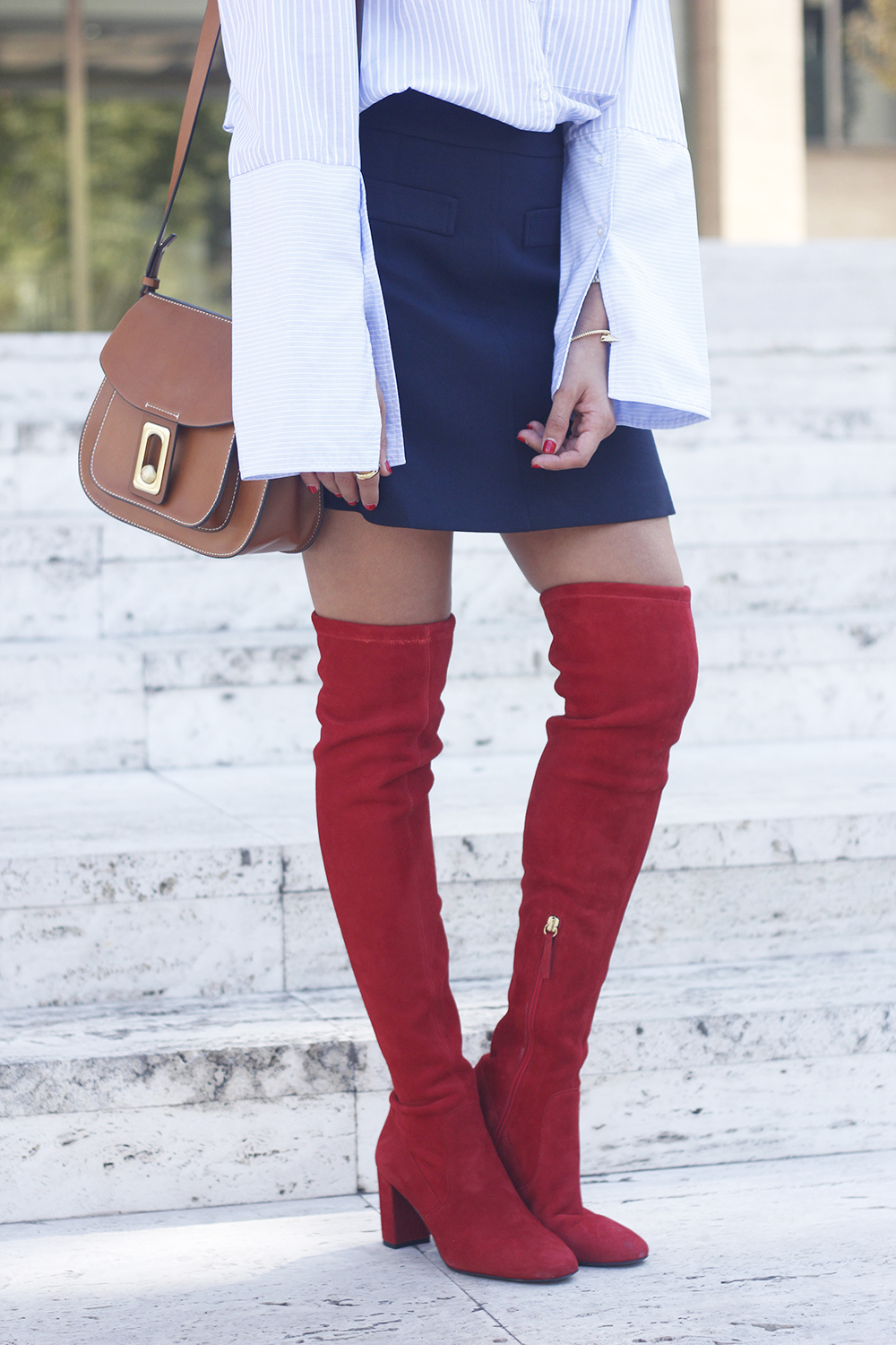 Red over the knee boots blue skirt sunnies accessories outfit style fashion13