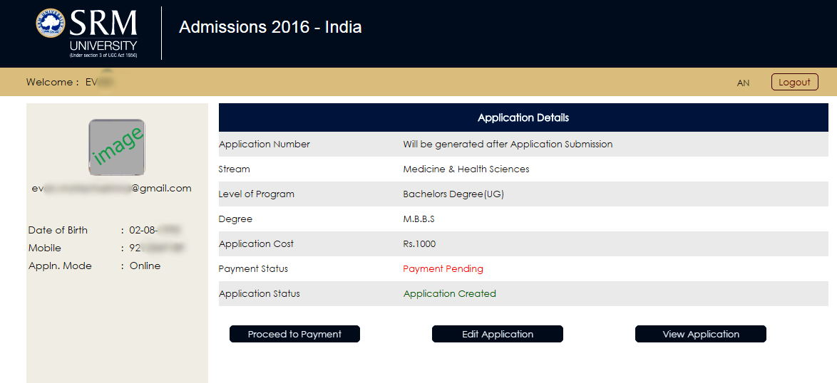 format final application srm admissions