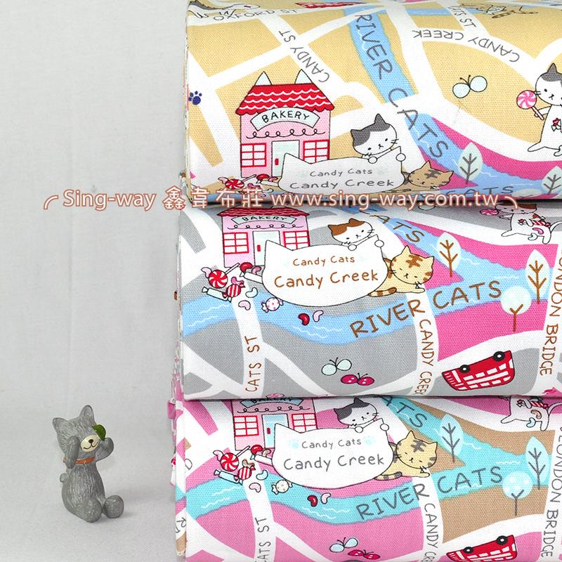 糖果喵MAP  寵物貓 街道風景 地圖 手工藝DIy拼布布料 CF550500