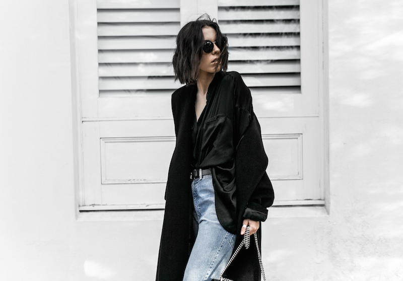denim street style inspo fashion blogger minimal black outfit modern legacy bassike farfetch block heel loafer Gucci Dionysus bag (5 of 8)-2