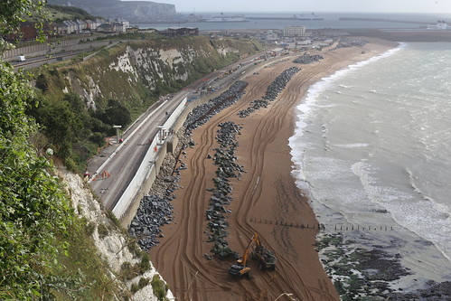 The ongoing repairs to the sea wall at Shakespeare Cliff, Dover