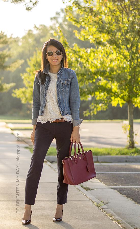 denim jacket, floral lace top, brown belt, navy pants, red purple tote, floral cuff, burgundy pumps