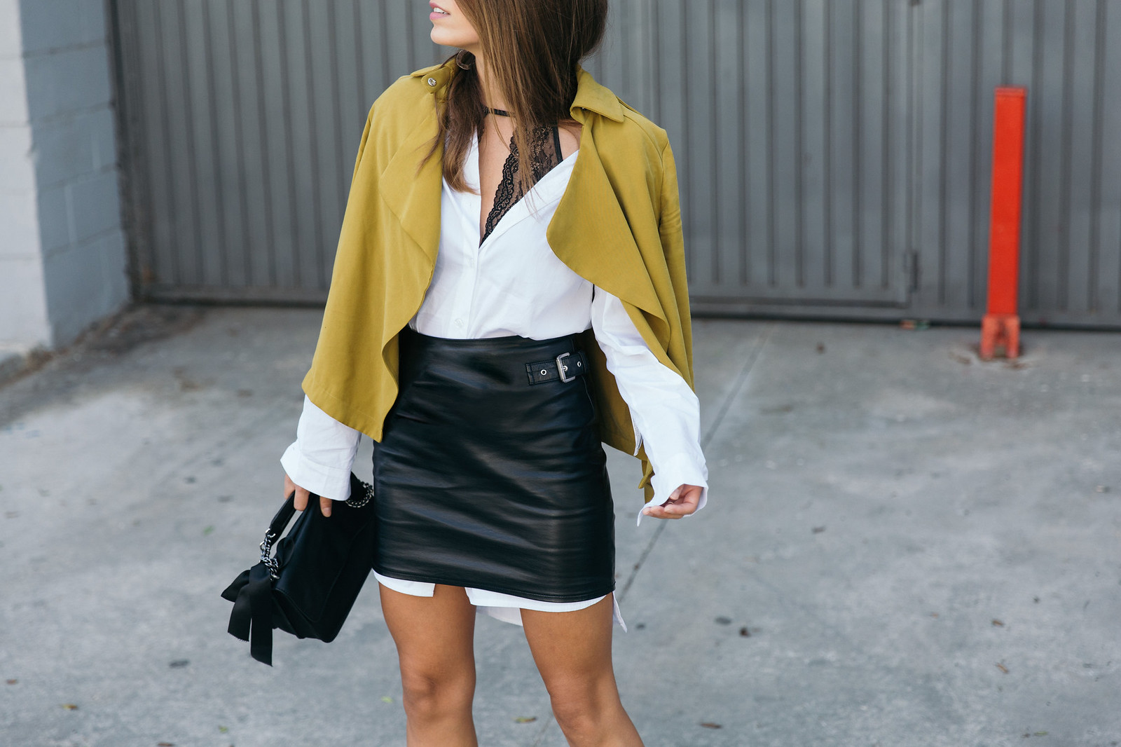 Jessie Chanes Seams for a desire - The Amity Company Oversized White Shirt Faux Leather Skirt Short Parka -3