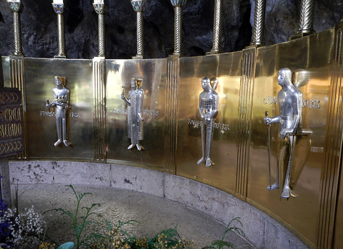Knights adorn the walls of the Covadonga shrine in northern Spain
