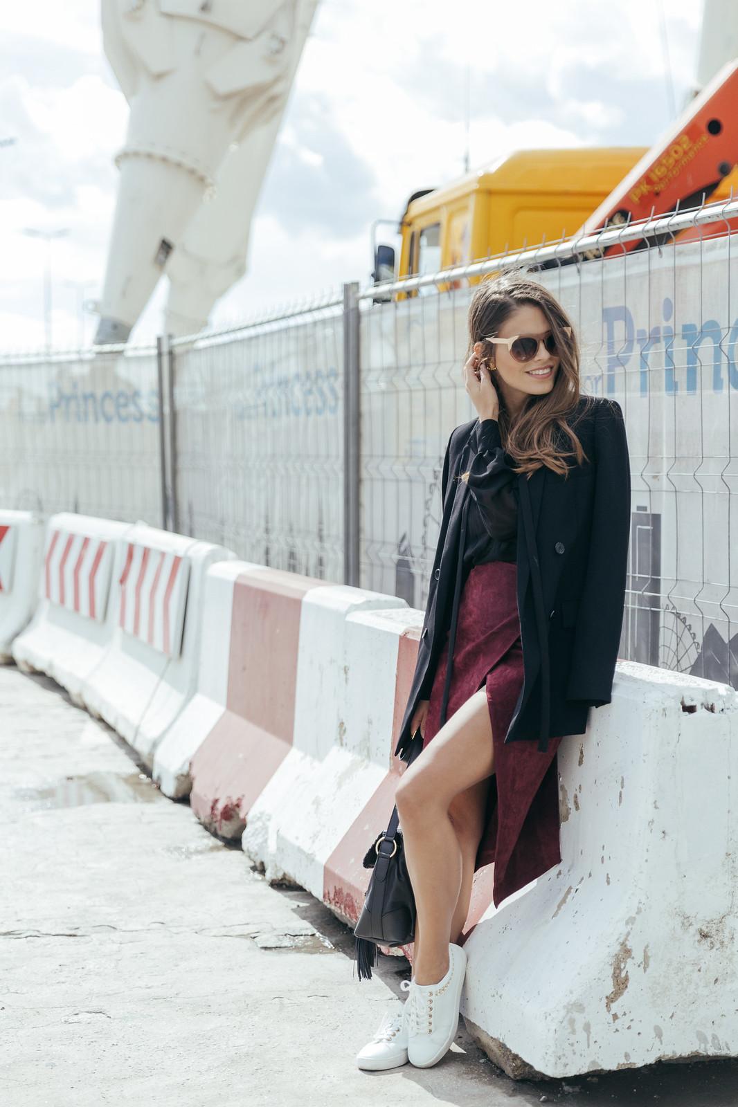 Jessie Chanes Seams for a desire - Burgundy Midi Skirt -10