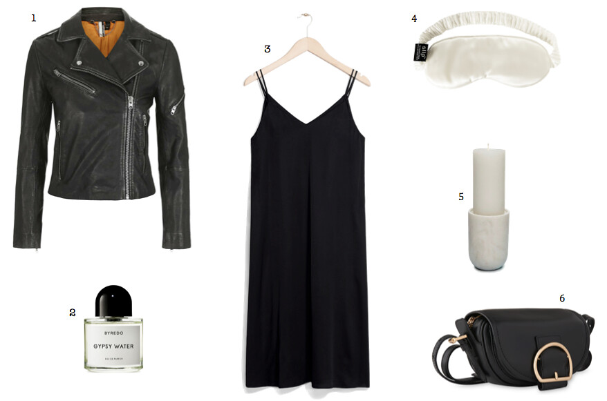 Topshop leather jacket Byredo Gypsy Water perfume Whistles buckle satchel bag