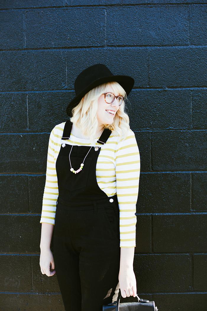 writes like a girl black overalls striped shirt4