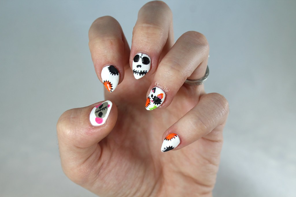Zombie cat nail art for Halloween