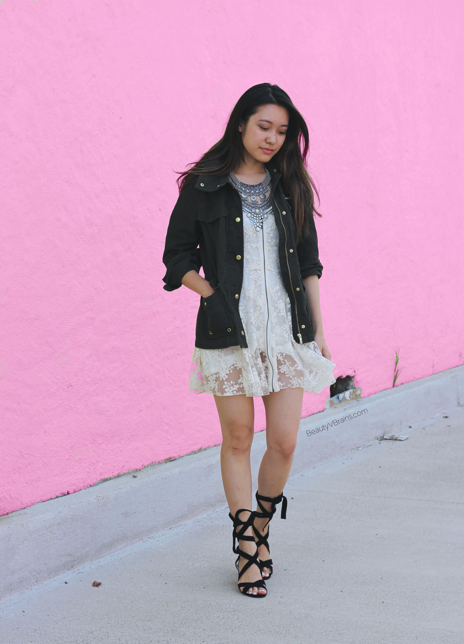 Fall outfit ideas - green parka and cream lace dress