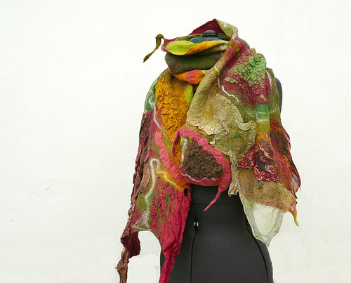Felted scarf Green Olive Red wine, nuno felt | by JaneBoFELT