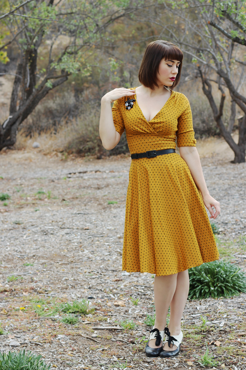 Unique Vintage 1950s Style Mustard & Black Dot Delores Swing Dress