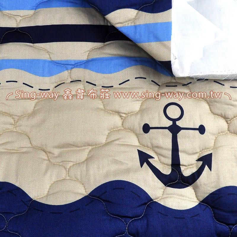 【限宅配】水手藍航向地中海5尺(2.1尺一圖) 海洋風 精梳棉鋪棉床品床單布料 B1700002