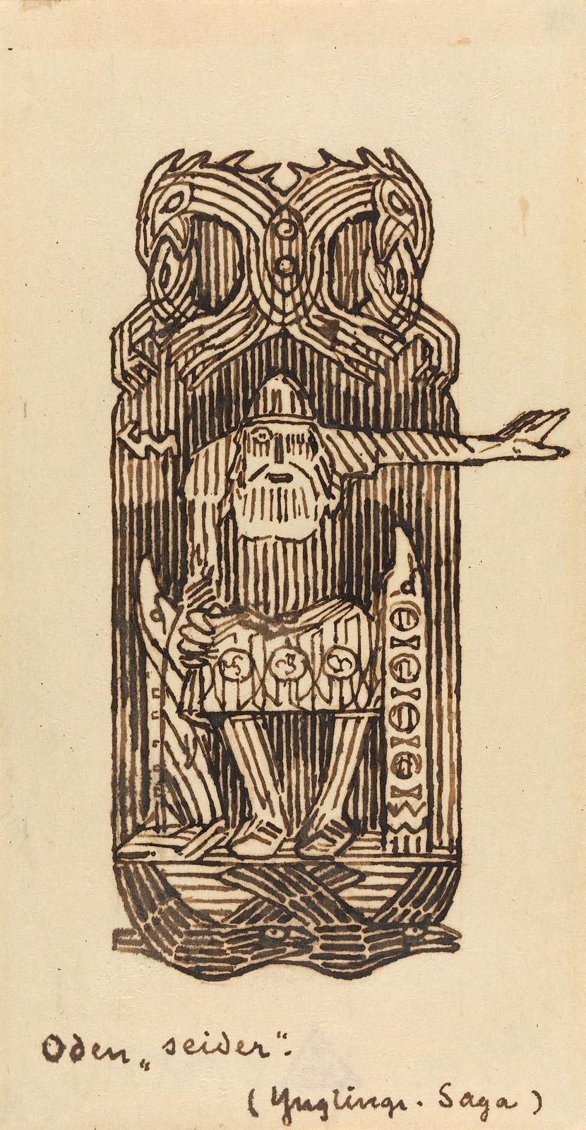 Gerhard Munthe - Odin øver seid, 1899