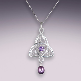 small, cast triquetra pendant. amethyst and pearl. | by Jeannius Designs