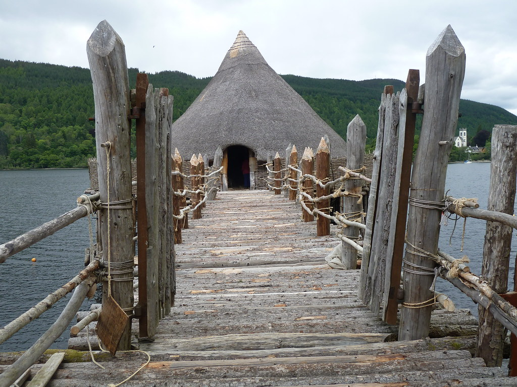 Entrance to Crannog, Loch Tay, Scotland.